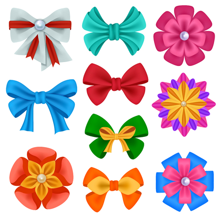 Realistic color bows collection