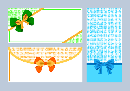 Realistic color bows collection illustration.