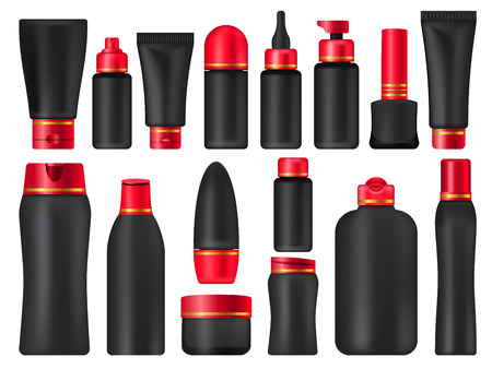 Cosmetic package collection black mock ups