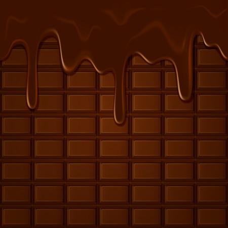 Horizontal seamless chocolate pattern with trickles Çizim