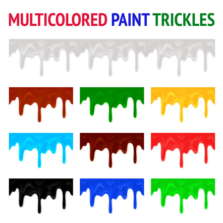 Multicolored paint trickles