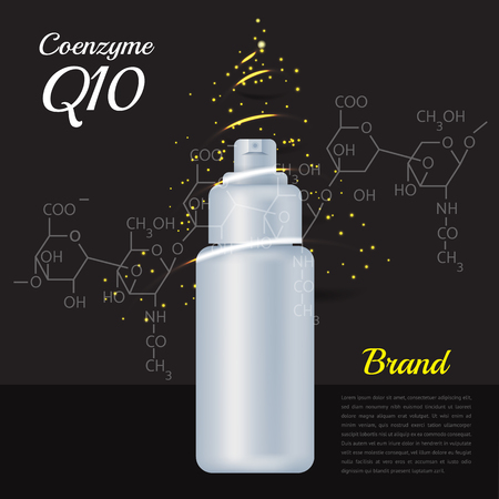 A poster with coenzyme Q10 bottle.