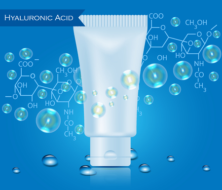 Realistic tube with water drops and bubbles on blue background.