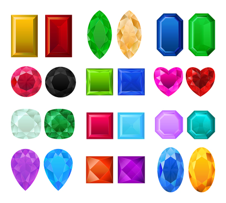Set of realistic precious stones vector illustration. Different cuts and colors gemstones. Colorful jewels isolated on white background.