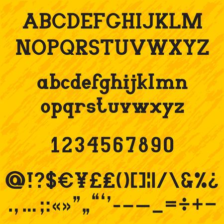 Slab serif bold alphabet