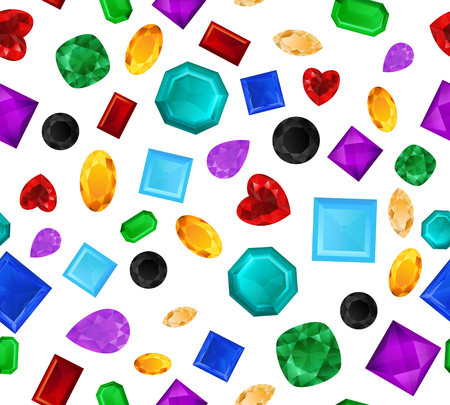 Realistic precious stones pattern vector illustration. Different cuts and colors gemstones. Colorful jewels background isolated on white.