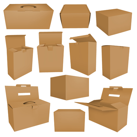 Set of blank brown boxes isolated on white background. Realistic carton case vector illustration for your design. Cardboard box mockup set Çizim
