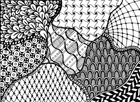 Vintage freehand drawing illustration. Handwritten different black ornament on white background. Designed for coloring by adults for relaxation purposes