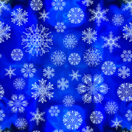 Seamless snowflakes pattern Çizim
