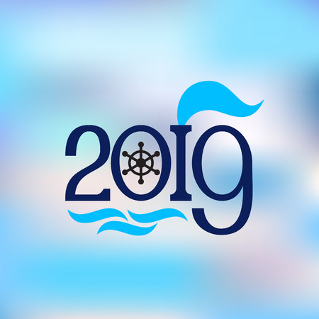 Happy New Year 2019 banner in nautical style on the abstract blue background