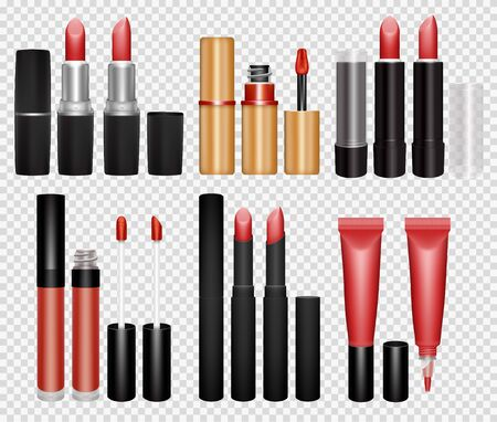 Realistic lipstick and lip gloss collection on transparent background