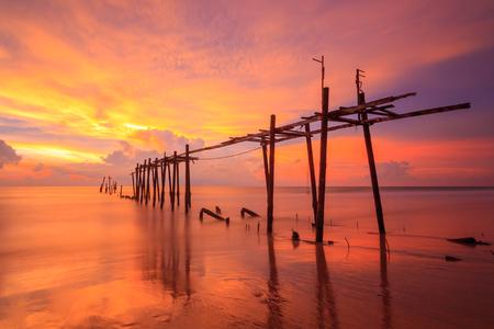 seascapes: The old bridge sunset Stock Photo