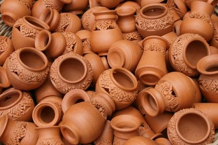 nonthaburi: Earthenware Natural Color Thai Handmade from Ko Kred Island, Nonthaburi, Thailand.