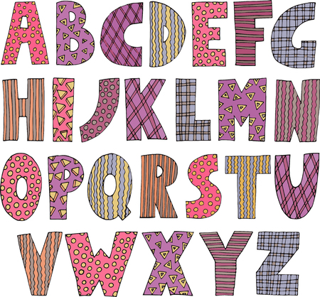 Colorful patchwork font Vettoriali