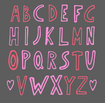 english letters: hand drawn pink doodle alphabet