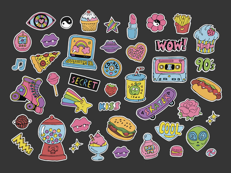 Cartoon 90s style patches,stickers or icons set