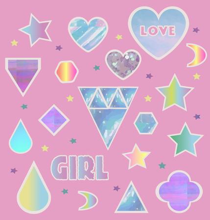 Fashion glitter girl stickers set