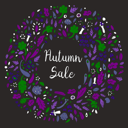 Autumn frame with Autumn Sale lettering. 向量圖像