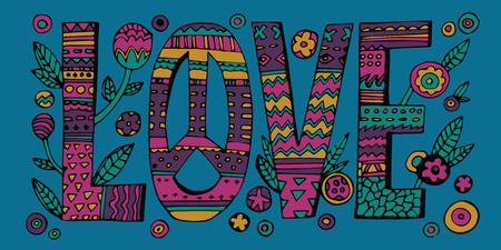 Psychedelic hippie Love lettering