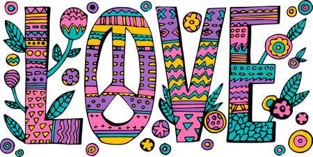 flowerpower: Psychedelic hippie Love lettering