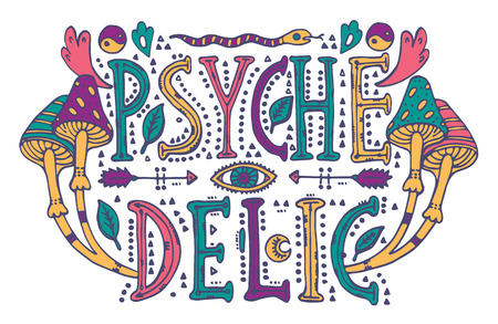 Detailed ornamental Psychedelic lettering and magic mushrooms in retro 60s style.Isolated on white background. olorful drawing for prints on t-shirts and bags or poster.Vector