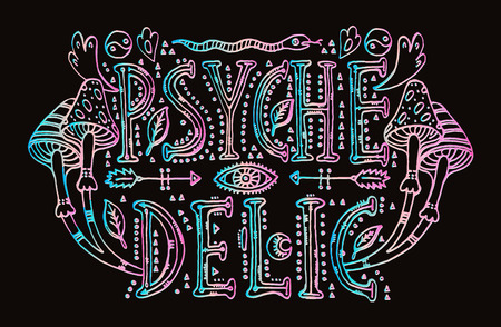 Detailed ornamental Psychedelic lettering. 向量圖像