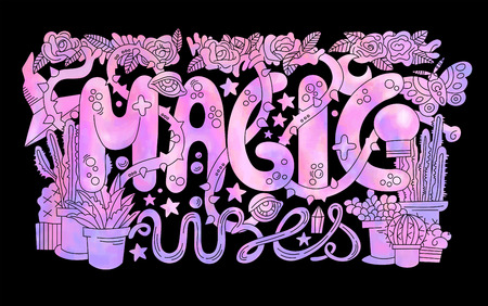 Detailed colorful Magic vibes lettering Vector illustration. 向量圖像