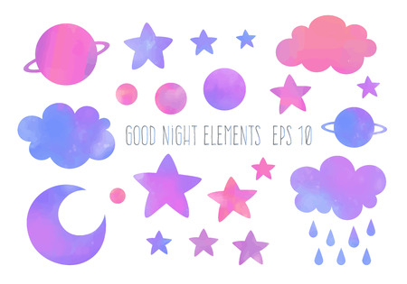Watercolor moon, clouds, stars and planets vector elements.