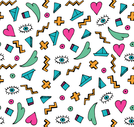 Abstract colorful doodle seamless pattern. 矢量图像