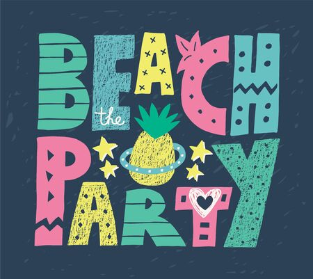 Beach party colorful word art vector design