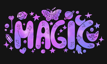 Detailed hand drawn violet and pink Magic lettering with space watercolor texture effect.Isolated on black background.Word art with magic elements for prints on t-shirts and bags or poster.Vector