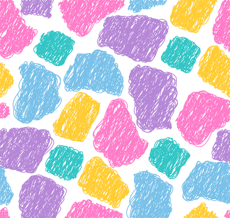 Abstract seamless scribble pattern.Colorful hand drawn shapes on white background,can be used as textile print.Vector