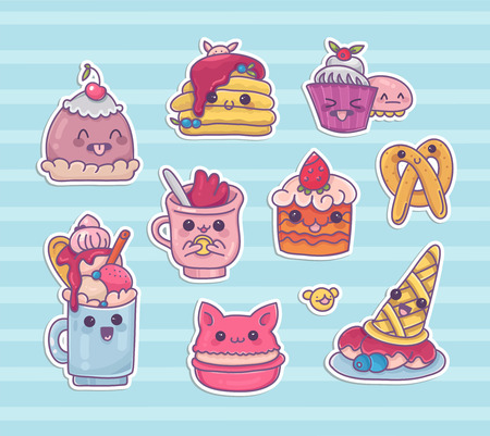 Set of stickers with kawaii desserts and sweets in lovely cartoon style.Cute ice cream,milk shake,macaron,cupcake and other food icons with different manga emotions.Vector clip art