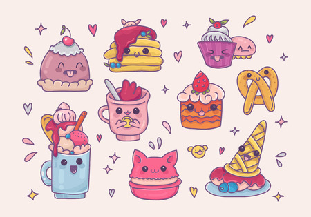 Set of kawaii desserts and sweet things in cartoon style.Cute ice cream,milk shake,macaron,cupcake and other food icons with different emotions.Vector clip art