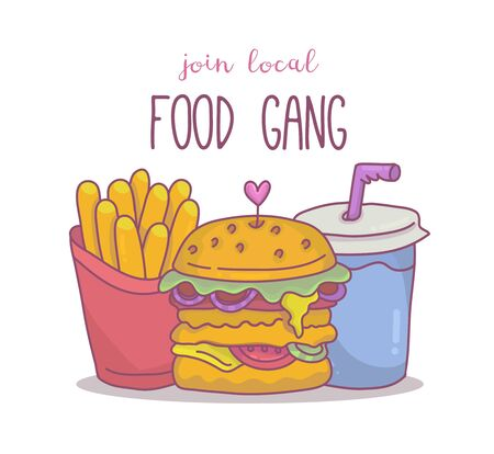 French fries,burger and soda with Join local food gang lettering 向量圖像