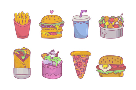 Colorful fast food set. Fries,burger, doner kebab and pizza - cartoon icons for menu,stickers and decoration.Street food clip art.Vector