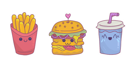 French fries,burger and soda with kawaii face expressions. Funny and colorful cartoon smiling icons.Fast food concept,horizontal illustraton.Vector