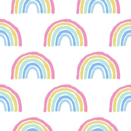 Rainbow cute seamless pattern on white background 向量圖像