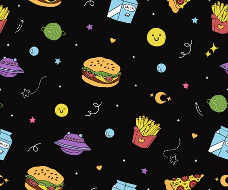 cute seamless pattern with planets, pizza, hamburger,french fries and milk flying in open space.fast food print