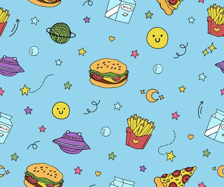 cute blue seamless pattern with planets, pizza, hamburger,french fries ,milk and colorful stars.fast food