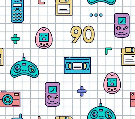 Icônes de ligne plate de gadgets des années 90. Modèle sans couture coloré avec joystick, cassette vidéo, téléphone portable, jeux électroniques, tamagotchi et autres. Fond à carreaux blancs. Vecteur.