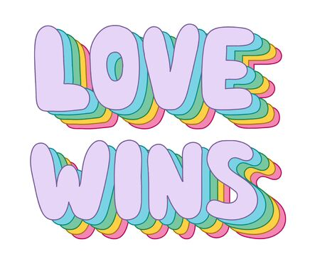 Colorful funky rainbow Love wins lettering,white background. Trendy retro word art print for T-shirt,bag,sticker,mobile wallpaper or poster.