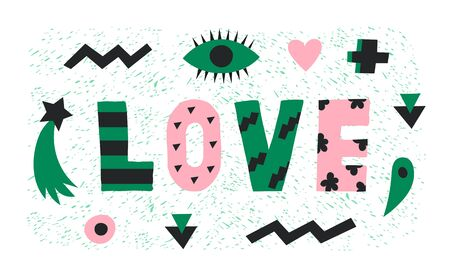 Bright graphic green and pink Love lettering with simple paper cut shapes,heart,eye and star.Trendy minimalistic word art design 向量圖像