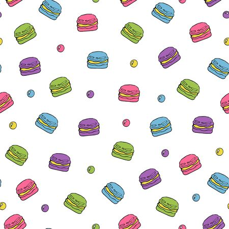 Cute seamless pattern with colorful macaron cookies  and circles.Sweet hand drawn print