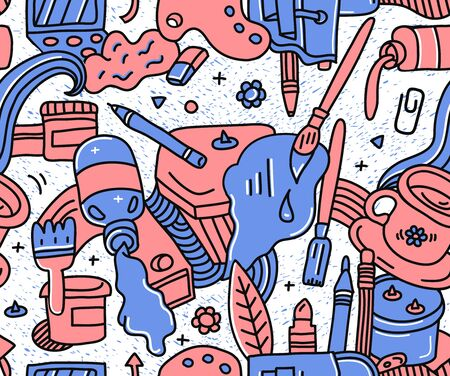 Red and blue doodle detailed seamless art pattern with different painting,drawing and crafts equipment