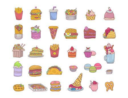 Big fast food set with fries, burger, pizza, kebab, sandwiches, salad, taco, desserts etc. 向量圖像