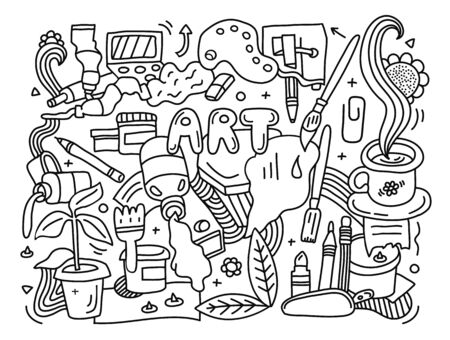Black and white creative doodle detailed Art background different painting,drawing and crafts equipment 向量圖像