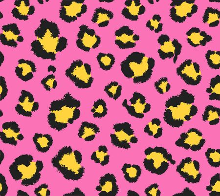 Seamless pink and yellow leopard pattern 80s 90s style.Fashionable exotic animal print.