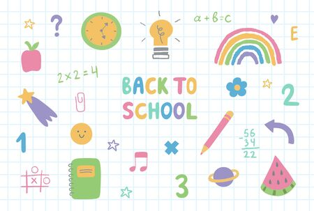 Set of colorful hand drawn school doodle elements,stars,symbols and stationery.Back to school lettering on checkered textbook paper. 向量圖像