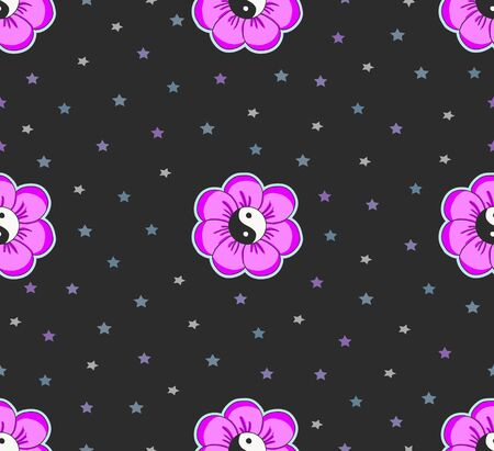 seamless pattern with grunge pink yin yang flowers and stars.black background 向量圖像